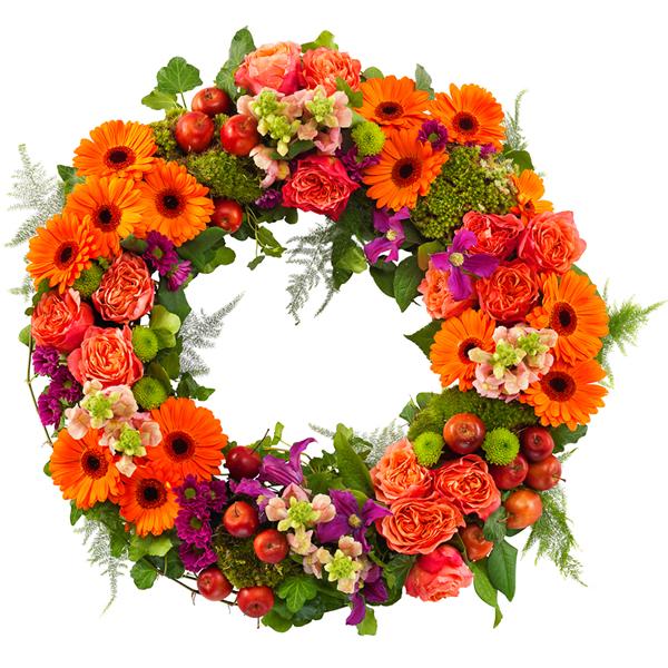 begravelseskrans-i-orange-og-lilla-farver