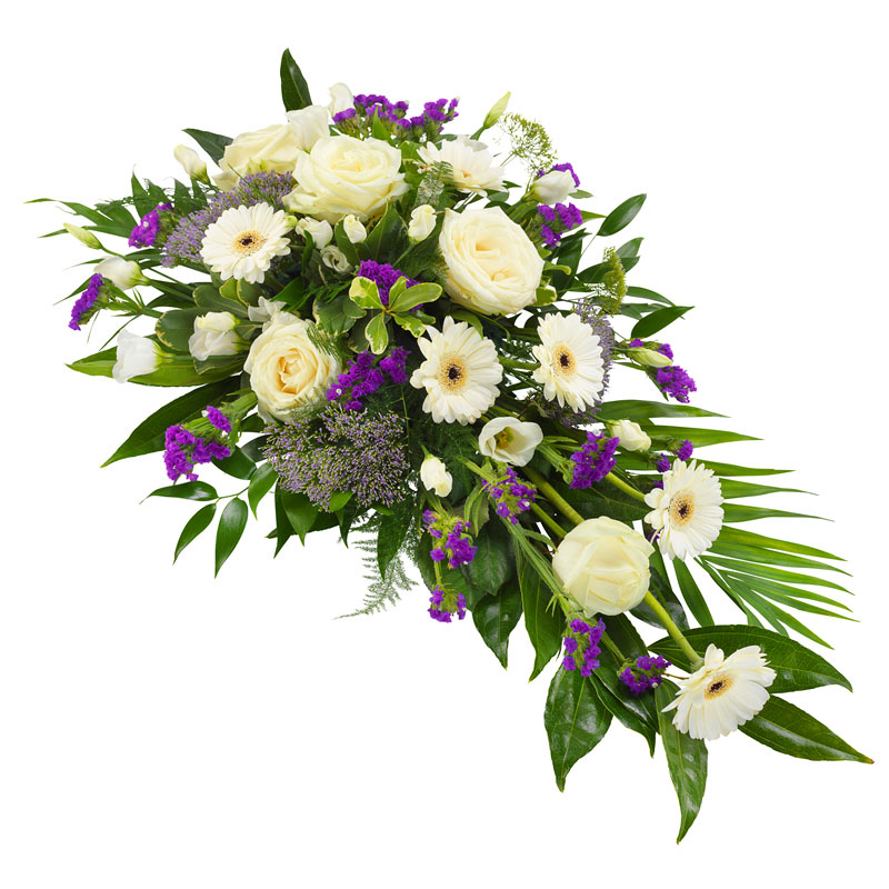 Funeral spray in white and purple colours.